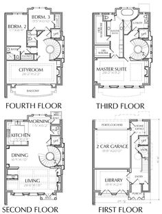 apartment floor plans Brownstone Homes, Townhome Design, Luxury Town Home Floor Plans Preston Wood & Associates The Plan, How To Plan, Apartment Floor Plans, House Floor Plans, Building Plans, Building Design, Brownstone Homes, Townhouse Designs, Minecraft Blueprints