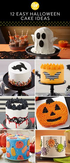 12 Easy Spooky Halloween Cake Ideas Hosting a spook-tacular get together this Halloween? Wilton has many Halloween cake, cookie, and treat recipes, for both the beginner and experienced baker, that are sure to be the hit of your party! Halloween Desserts, Halloween Cupcakes, Buffet Halloween, Spooky Halloween Cakes, Halloween Dessert Table, Halloween Torte, Halloween Backen, Pasteles Halloween, Bolo Halloween