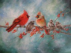 Cardinal Family Art Print, cardinals art, bird paintings, snow birds, red birds, art prints, winter birds, Vickie Wade art. $16.00, via Etsy.