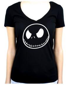 Negative Jack Skellington Face Women's V-Neck Shirt Top Nightmare Before…