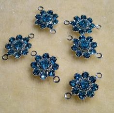 6 Pcs Flower Links Swarovski Crystal Aquamarine Jewelry Connectors by Gstrands on Etsy Aquamarine Jewelry, Crystal Design, Swarovski Crystal Beads, Jewelry Supplies, Belly Button Rings, Flowers, Silver, Etsy, Color