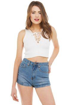 Crop Top | White Lace Up Top | Summer Shirts -AKIRA