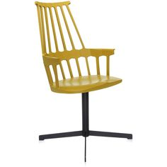 Kartell Comback Chair Swivel Base - Yellow ($575) ❤ liked on Polyvore featuring home, furniture, chairs, office chairs, yellow, kartell chairs, yellow painted furniture, yellow chair, kartell and painted furniture