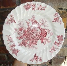 Red Transferware Plate Basket of Fruits