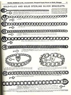 1897 Gold Filled charm bracelets from the Sears Roebuck catalog