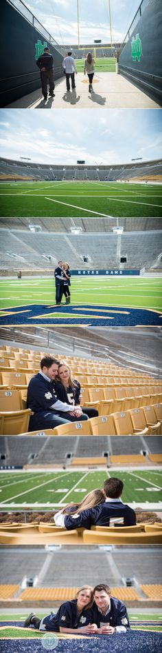 Couple on the Notre Dame football field after getting engaged