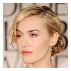 Kate Winslet's 2012 Golden Globes Hair and Makeup Look ❤ liked on Polyvore