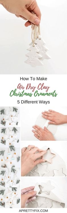 Learn how to make air dry clay Christmas ornaments 5 different ways in this quick and easy step-by-step tutorial. Decorate a tree or use them as gift tags. It's the perfect Christmas craft to do with the kiddos!