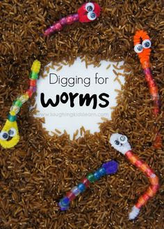 Digging for worms activity for kids. Great for developing fine motor skills with threading beads onto pipe cleaners.