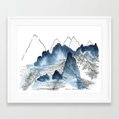 Landscape print. Abstract Mountain. Nature by DreamyMeisme on Etsy