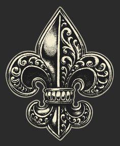 Incredible Designs for a Fleur-de-lis Tattoo and its True Meaning - Thoughtful Tattoos Dad Tattoos, Skull Tattoos, Sleeve Tattoos, Tattoos For Guys, Warrior Tattoo Sleeve, Shoulder Armor Tattoo, Baroque Tattoo, Filigree Tattoo, Louisiana Tattoo