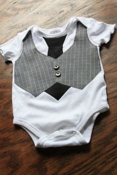 little man vest and tie onesie diy by JudyP