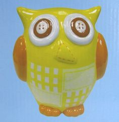 """Owl Bank Yellow & Orange Ceramic 6.5"""" Gifts by Fashioncraft NEW Sewing Details"""