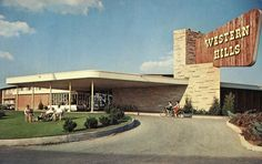 Beautiful Western Hills, located in Sequoyah State Park, Okla. Bicycling and many, many more sports available the year around. Vintage Hotels, Vintage Travel, Vintage Postcards, Vintage Ads, Hotel Motel, Road Trip Usa, Googie, Lodges, Travel Posters