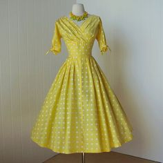 vintage 1950's dress   classic yellow POLKADOT surplice by traven7