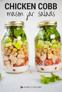 Chicken Cobb Mason Jar Salads | So much tastiness in one mason jar salad - plus a clean ranch salad dressing! | A Sweet Pea Chef