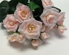 Silk Flowers - 15 Inch PINK BLUSH Rose Bush -  Artificial Flowers, Flower Crowns, Wedding Flowers
