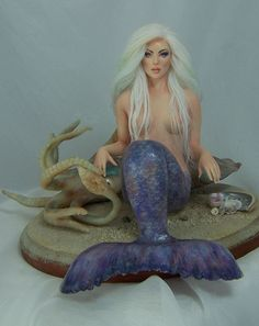 Kahlara♥ Unicorns And Mermaids, Mermaids And Mermen, Pretty Mermaids, Polymer Clay Figures, Polymer Clay Art, Mermaid Dolls, Mermaid Art, Ooak Dolls, Art Dolls