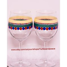 CHRISTMAS WINE GLASSES, hand painted unique wine glasses, one of a... (77 ILS) via Polyvore featuring home, kitchen & dining, drinkware, christmas wine glass, christmas wine glasses, red wine glass, handmade wine glasses and handpainted wine glasses