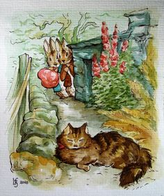 cat, hollyhocks, rabbits....sweet....This says:  The Tale Of Peter Rabbit