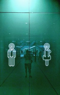 M / F toilet signage Toilet Signage, Bathroom Signage, Signage Display, Signage Design, Environmental Graphic Design, Environmental Graphics, Funny Toilet Signs, Sign Board Design, Restroom Design