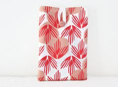 Hand printed Ipad mini case peach orange palm by KimsHandmadeCave, £15.00