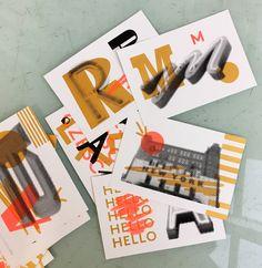 City ABC postcards risograph printing style by Marta Przeciszewska