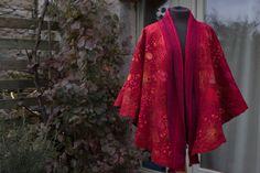 nuno felted cape with hand woven detail Nuno Felting, Cape, Hand Weaving, Kimono Top, Detail, Women, Fashion, Mantle, Moda