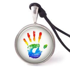 vietguild Rainbow Painted Hand Shape Necklace Pendants Pewter Silver