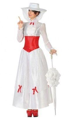 a4266fb531d Déguisement Femme Mary Poppins Blanc XS/S 36/38 Costume Adulte Cinéma film