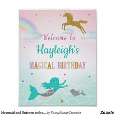 Shop Mermaid and Unicorn welcome party sign created by FunnyBunnyCreative. Personalize it with photos & text or purchase as is! Welcome Banner, Welcome To The Party, Party Invitations Kids, 1st Birthday Invitations, Invites, Kids Birthday Themes, First Birthday Parties, Kylie Birthday, 10th Birthday