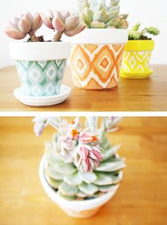 25 Simple DIY Ways To Customize & Paint Terra Cotta Pots | Homelovr Flower Pot Crafts, Clay Pot Crafts, Diy Home Crafts, Clay Flower Pots, Diy Flower, Craft Projects For Adults, Diy House Projects, Diy Craft Projects, Craft Ideas