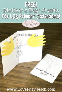 Mother's Day Crafts for the LDS Primary Classrooms! Step Mothers Day, Mothers Day Crafts For Kids, Fathers Day Crafts, Mothers Day Cards, Kids Crafts, Sunday School Classroom, Sunday School Lessons, Sunday School Crafts, Primary Classroom