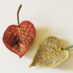 Fiber Art Leaves with Embroidered Black Widow Spider Brooch