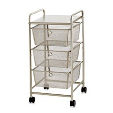 metal rolling cart with storage bins buy champagne rolling cart from bed bath u0026 beyond