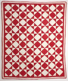 Red and White Diamonds Crib Quilt - c 1880; complex - diamonds; hourglasses (bow ties) and evening stars.