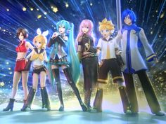 Hatsune Miku, Luka Megurine, Kaito, Meiko, Rin and Len Kagamine! Manga Anime, All Anime, Anime Art, Hatsune Miku, Cosplay Kawaii, Vocaloid Cosplay, Kaai Yuki, Miku Chan, Mikuo