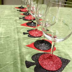 Mod podge glitter wine glasses and coasters for Poker Night with the girls. Casino Party Games, Casino Night Party, Casino Theme Parties, Las Vegas Party, Vegas Theme, Mod Podge Glitter, Poker Party, Glitter Wine, Glitter Glasses