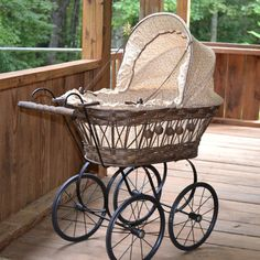 Vintage Doll Carriage Wicker, Metal, Plastic with Calico Coverings and Porcelain Doll on Etsy, $65.00