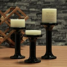Black Glass Candle Holders - Set of 3