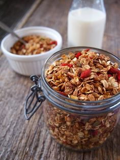 Homemade Soy Milk and Goji Berry Granola | vermilionroots.com. A fast and convenient breakfast that can be made ahead and stored for at least a week.