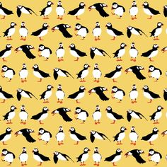 just small puffins (yellow) fabric by scrummy on Spoonflower - custom fabric