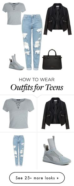 """Untitled #487"" by kylie100 on Polyvore featuring New Look, Burberry, Topshop, Zizzi and Puma"