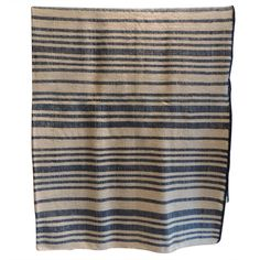 French Provincial Blue and Natural Stripe Blanket. | From a unique collection of antique and modern textiles and quilts at http://www.1stdibs.com/furniture/more-furniture-collectibles/textiles-quilts/