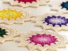 Ravelry: Sunburst coaster pattern by Kirsten from Haak maar Raak!