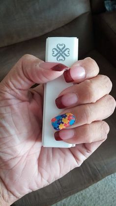 Jams can go over the top of acrylic nails too! This is the autism awareness wrap! Jamberry donates a portion of the sale of each of these wraps to autism awareness! Find them on my web-site www.hannahfix.jamberrynails.net