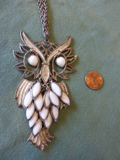 OWL Pendant Necklace Articulated Silvertone by BonniesVintageAttic