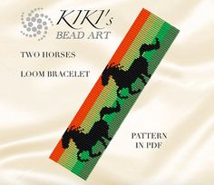 This is my own designed pattern in PDF format downloadable directly from ETSY.  This pattern is for my two horses LOOM bracelet, which is created using delica beads. The pdf file includes for both versions: 1. a large picture of the pattern 2. a large, detailed graph of the pattern, 3. a bead legend with the colour numbers and count of the delica beads for the suggested length 4. a word chart of the pattern  Please note that my patterns do not include instructions for how to do the Loom…