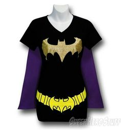 Batgirl Women's V-Neck Caped Costume T-Shirt This paired with gold tights