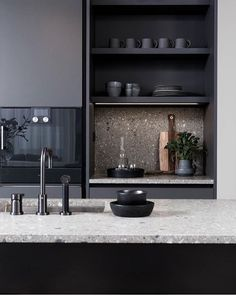 Modern Kitchen Interior - Anyone planning a black kitchen design is walking a tightrope throughout the design process because even the smallest mistake can […] Home Decor Kitchen, Kitchen Dining, New Kitchen, Kitchen Cabinets, Kitchen Ideas, Nordic Kitchen, Kitchen Walls, Black Cabinets, Diy Cabinets
